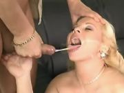 Yummy pregnant blonde gets mouthful